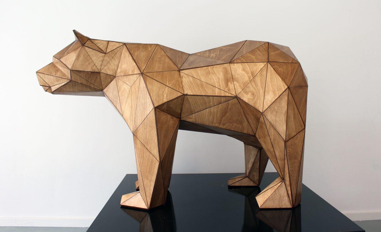 Wooden Geometric Bear sculpture